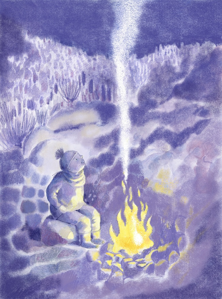 Illustration, woman seating outside at night by a winter's fire
