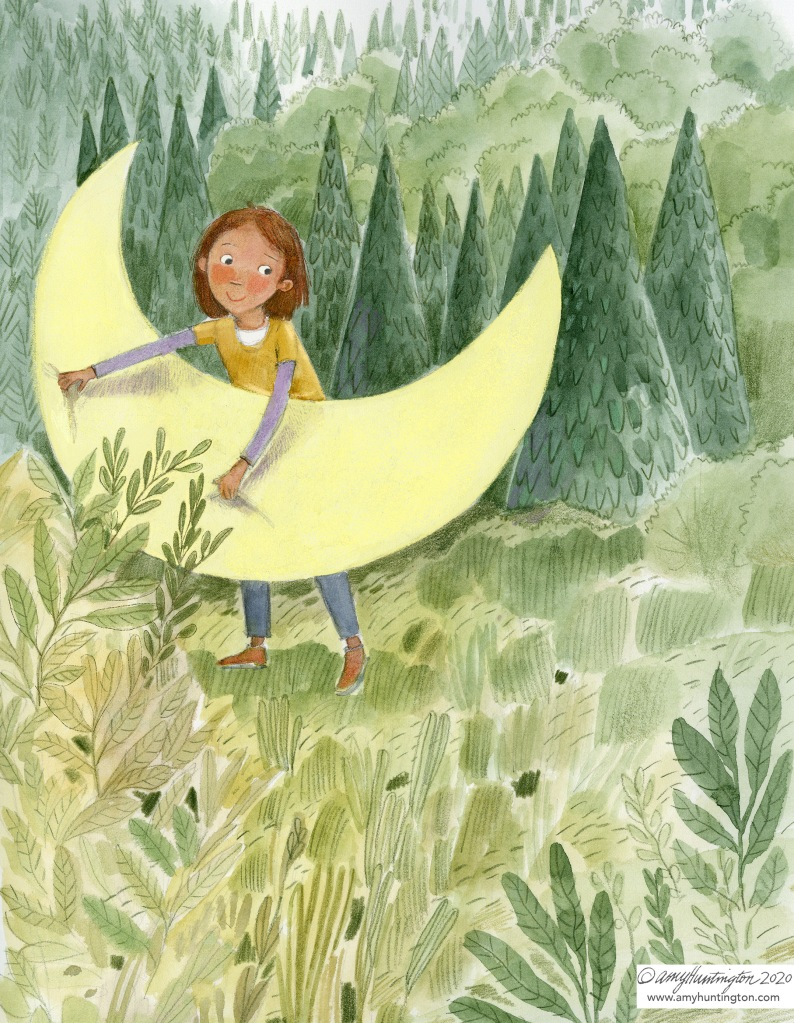 Illustration, girl holding a sliver of the moon amounts evergreens