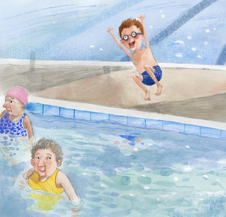 Illustration, boy jumping into a pool