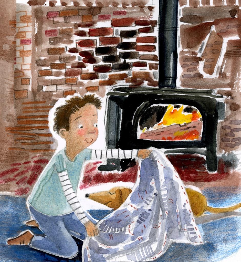 Illustration, boy covering a dog with blanket