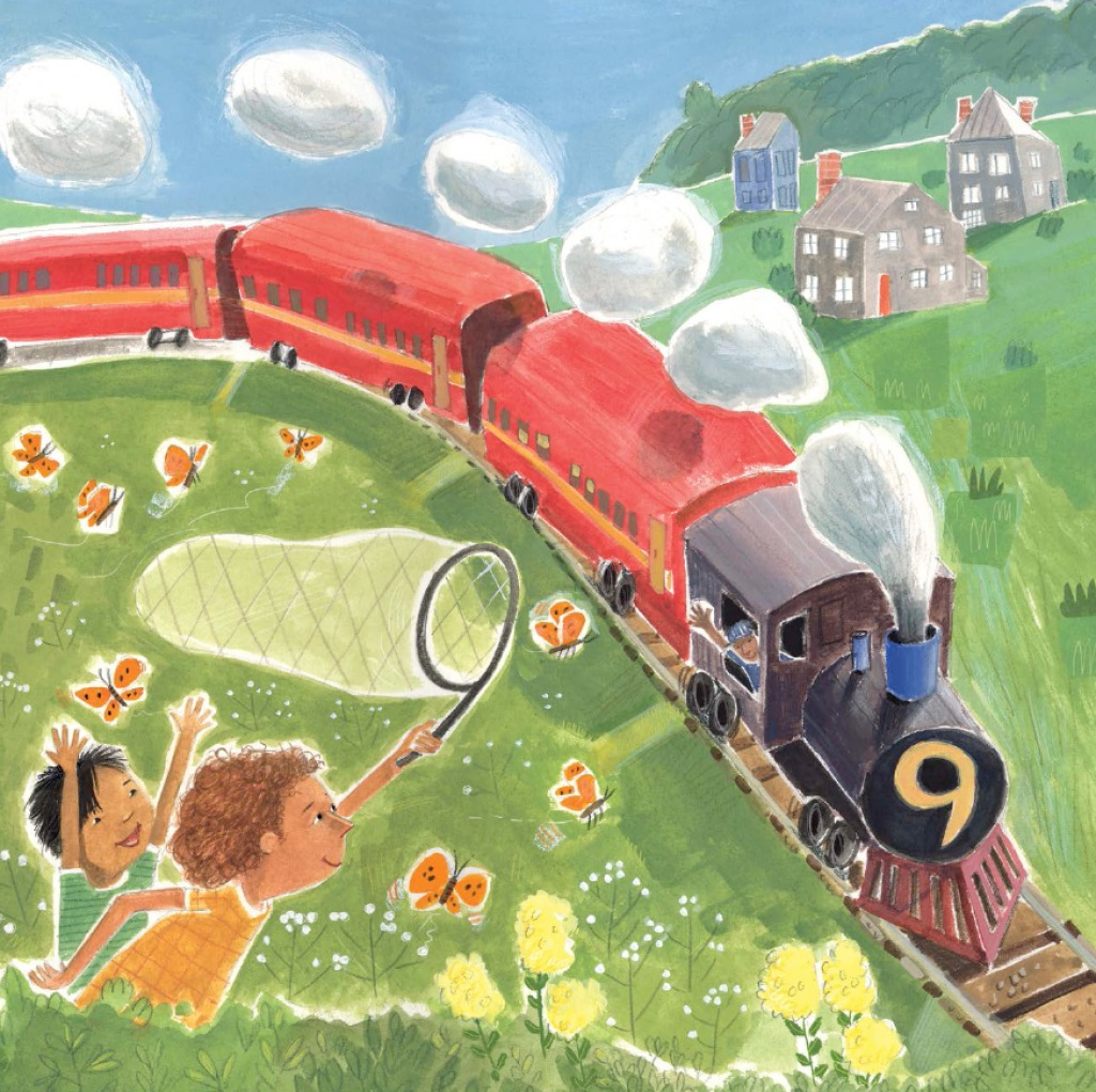 Illustration, two children chasing butterflies by a passing train