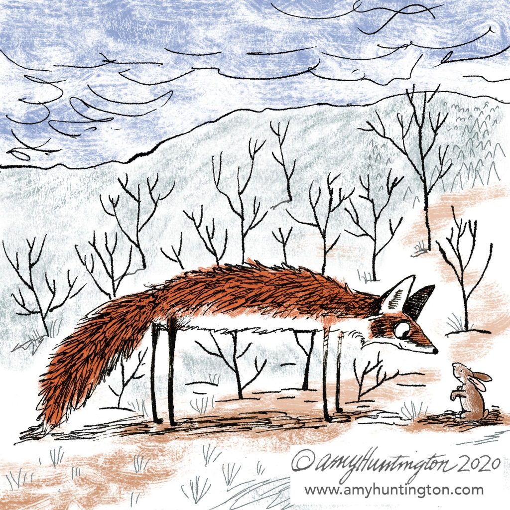 Illustration, fox meeting little bunny