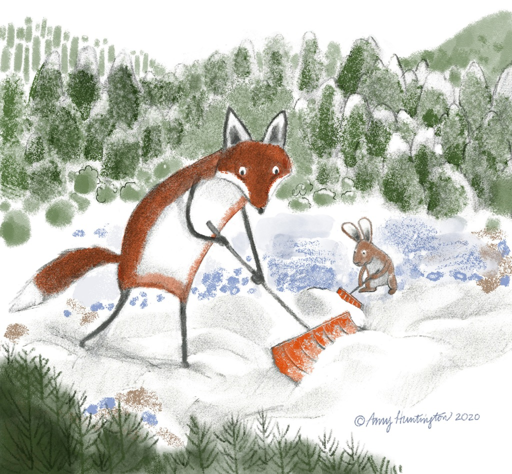 Illustration of fox and bunny shoveling snow