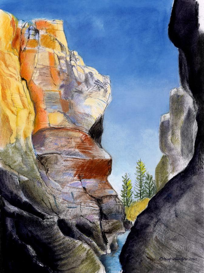 Illustration, soft pastel, slot canyon