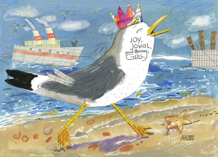 Illustration, laughing gull walking on the beach