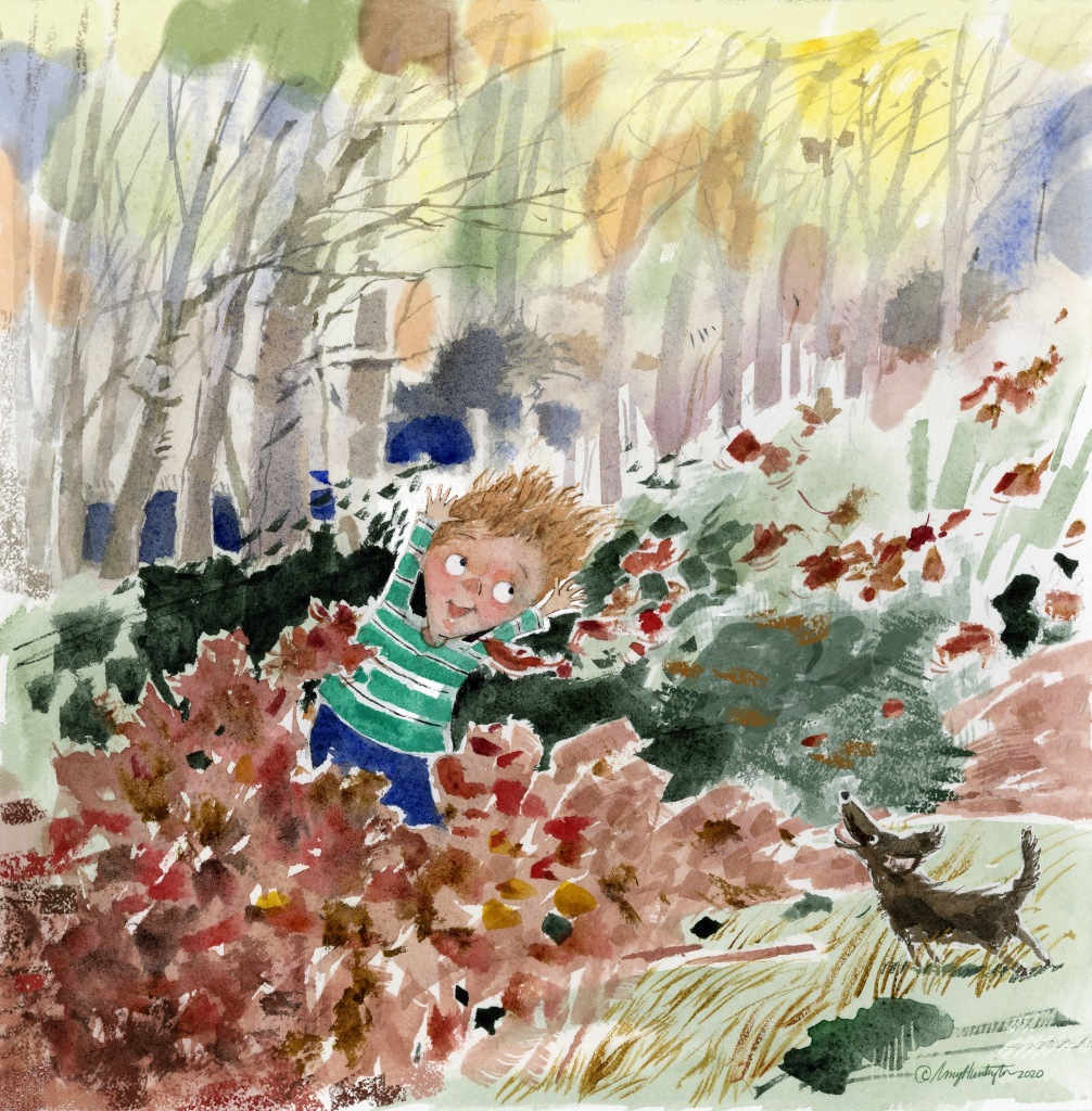 Watercolor of child and small dog playing in the fall leaves