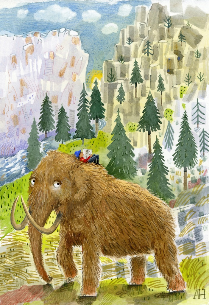 Illustration, Child reading while lying on top of a woolly mammoth