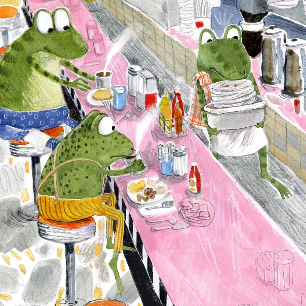 Illustration, frogs eating and working at a diner