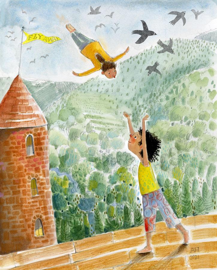 Illustration of girl flying over forest