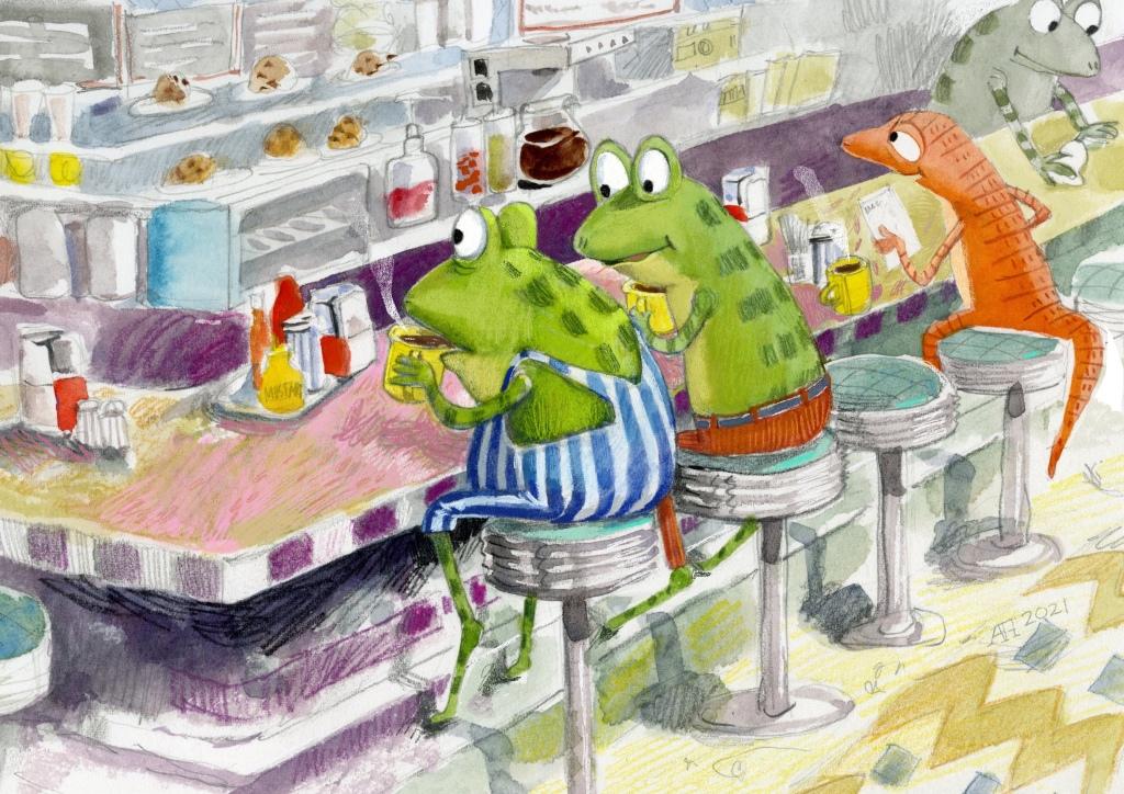 Illustration, frogs eating in a diner.