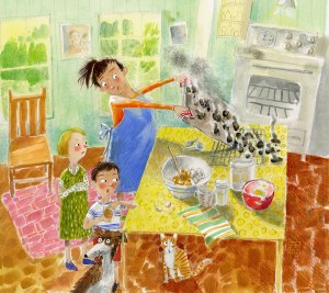 Illustration, kids and mom taking out burnt cookies