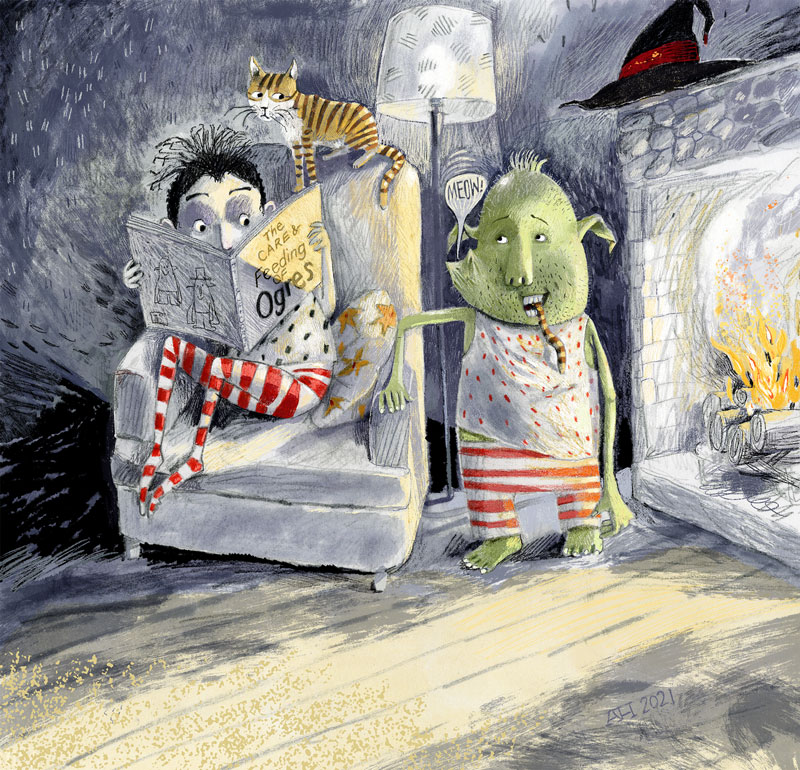 Illustration, child reading book, THE CARE AND FEEDING OF OGRES, while an ogre is attempting to eat the cat